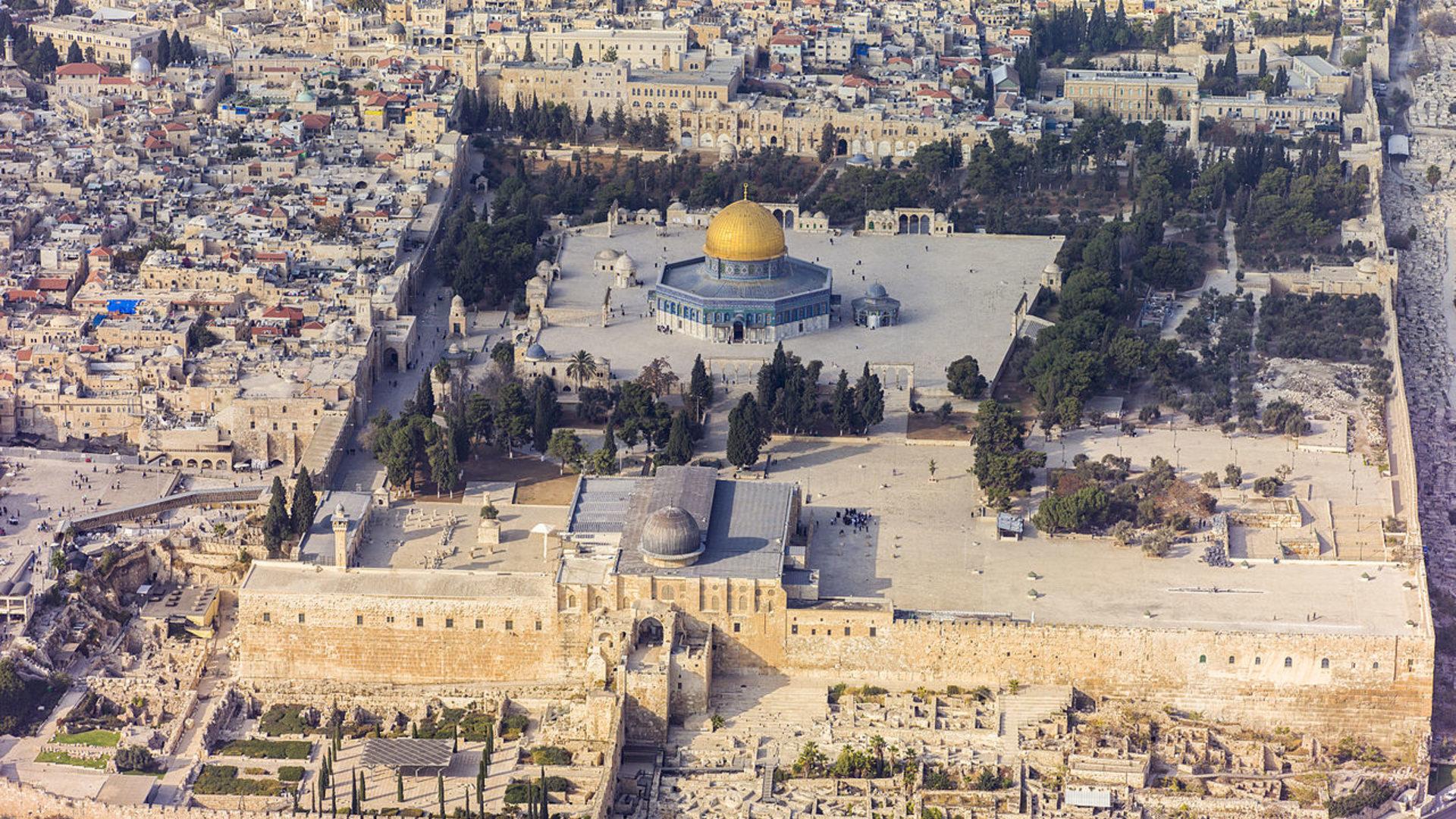Israel 2013%282%29 aerial jerusalem temple mount temple mount %28south exposure%29